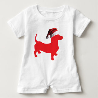 Red-Doxie---And-Santa-Hat Baby Romper