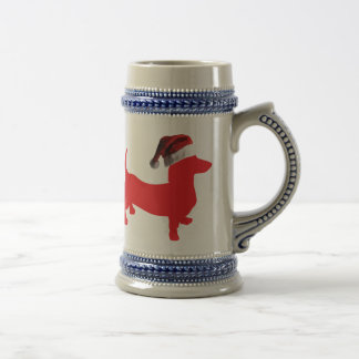 Red-Doxie---And-Santa-Hat Beer Stein