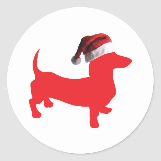 Red-Doxie---And-Santa-Hat Classic Round Sticker
