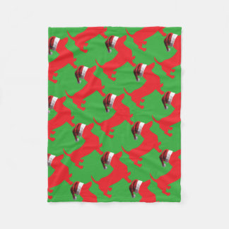 Red-Doxie---And-Santa-Hat Fleece Blanket