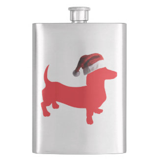 Red-Doxie---And-Santa-Hat Hip Flask