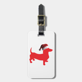 Red-Doxie---And-Santa-Hat Luggage Tag