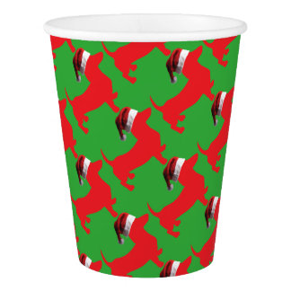 Red-Doxie---And-Santa-Hat Paper Cup