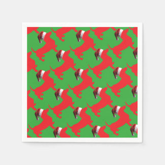 Red-Doxie---And-Santa-Hat Paper Napkin