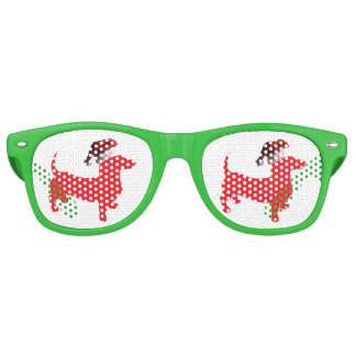 Red-Doxie---And-Santa-Hat Retro Sunglasses