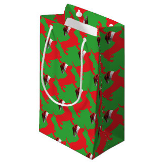 Red-Doxie---And-Santa-Hat Small Gift Bag