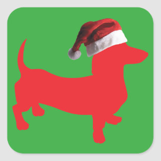 Red-Doxie---And-Santa-Hat Square Sticker
