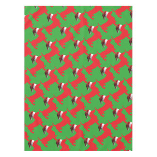 Red-Doxie---And-Santa-Hat Tablecloth