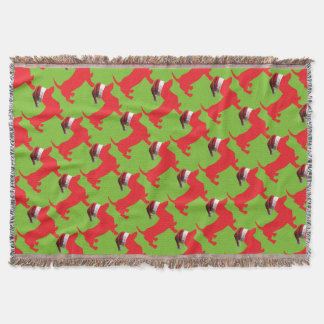 Red-Doxie---And-Santa-Hat Throw Blanket