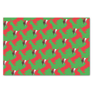 Red-Doxie---And-Santa-Hat Tissue Paper