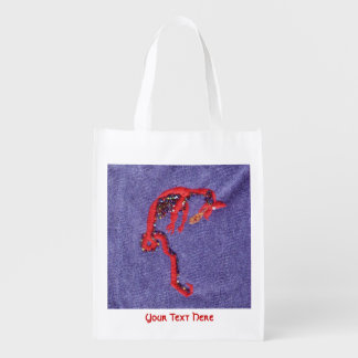 Red Dragon Beads Denim Embroidery Market Tote