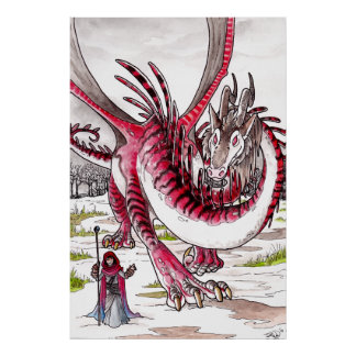 Red Dragon in Thawing Snow Poster