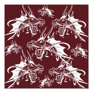 Red Dragon Mythical Creature Cool Fantasy Design Personalized Invitations
