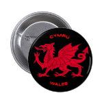 Red Dragon of Wales (Cymru), Black Back Pinback Button