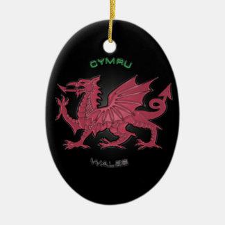 Red Dragon of Wales (Cymru),Black,Grey,Pastel Ceramic Ornament