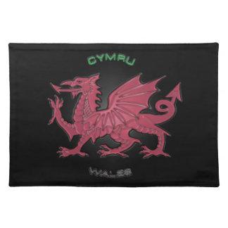 Red Dragon of Wales (Cymru),Black,Grey,Pastel Placemat