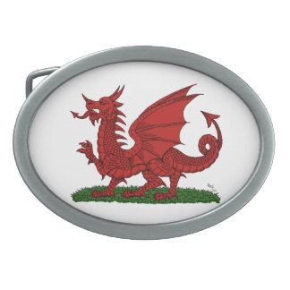 Red Dragon of Wales Oval Belt Buckles