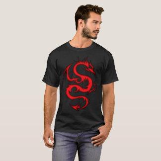 Red Dragon on Black T-Shirt