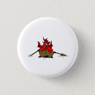 Red Dragon On Boat 1 Inch Round Button