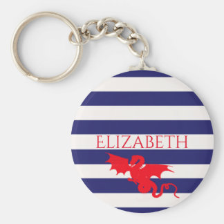 Red dragon on classic blue and white stripes name keychain