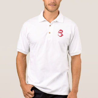 Red Dragon Prancing Silhouette Retro Polo Shirt
