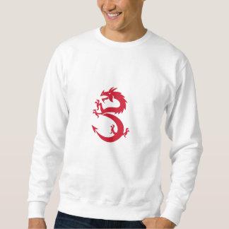 Red Dragon Prancing Silhouette Retro Sweatshirt