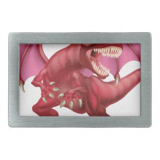 Red Dragon Rectangular Belt Buckle