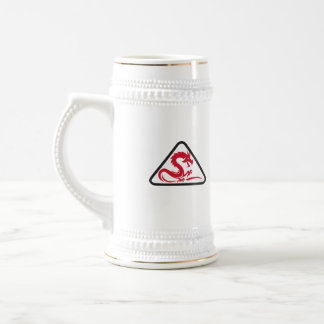 Red Dragon Silhouette Triangle Retro Beer Stein