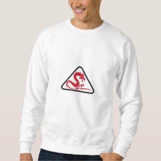 Red Dragon Silhouette Triangle Retro Sweatshirt