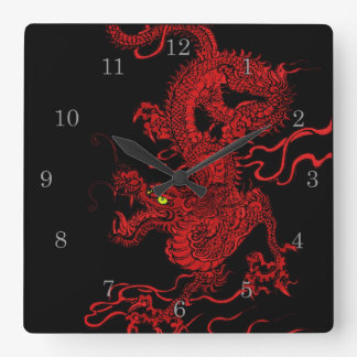 Red Dragon Square Wall Clock