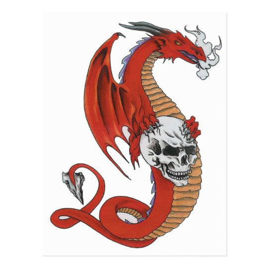 Red Dragon with Skull Postcard
