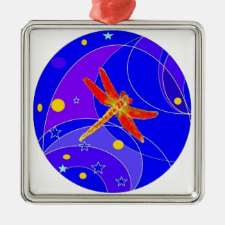 Red Dragonfly Celestial's by Sharles Silver-Colored Square Ornament