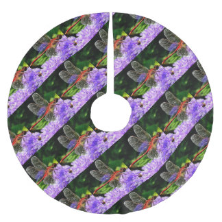 Red Dragonfly on Violet Purple Flowers Brushed Polyester Tree Skirt
