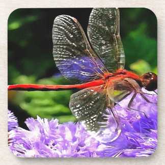 Red Dragonfly on Violet Purple Flowers Coaster