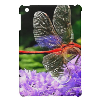 Red Dragonfly on Violet Purple Flowers iPad Mini Cases