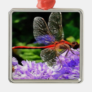 Red Dragonfly on Violet Purple Flowers Metal Ornament