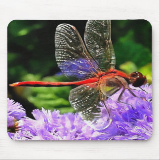 Red Dragonfly on Violet Purple Flowers Mouse Pad