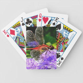 Red Dragonfly on Violet Purple Flowers Poker Deck