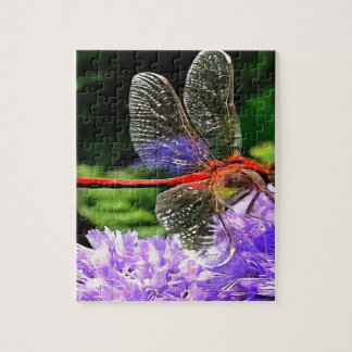 Red Dragonfly on Violet Purple Flowers Puzzle