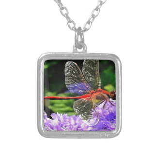 Red Dragonfly on Violet Purple Flowers Silver Plated Necklace