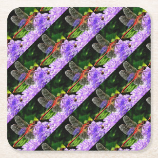 Red Dragonfly on Violet Purple Flowers Square Paper Coaster