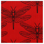 Red Dragonfly Polyester Poplin Fabric