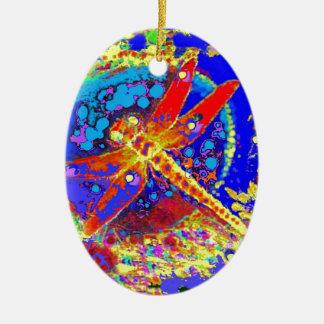 Red Dragonfly Splash by Sharles Ceramic Oval Ornament