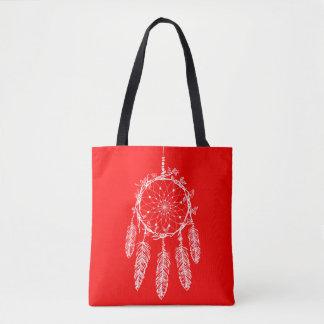 Red Dream Catcher Native American Southwestern Tote Bag