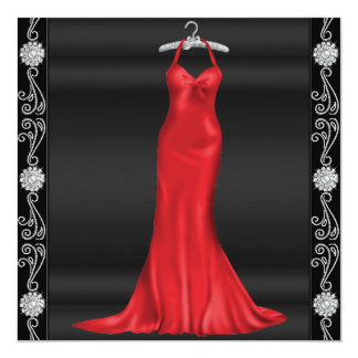 Red Dress Birthday Party Invitation