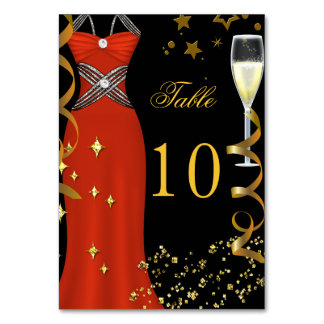 Red Dress Black Gold Table Number Card