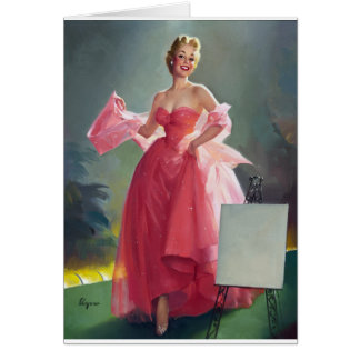 Red Dress Pin Up Card