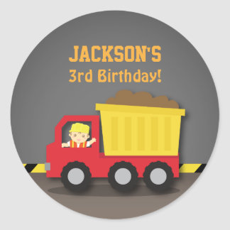 Red Dump Truck Boy Construction Birthday Party Classic Round Sticker