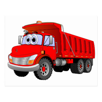 Red Dump Truck Cartoon Postcard