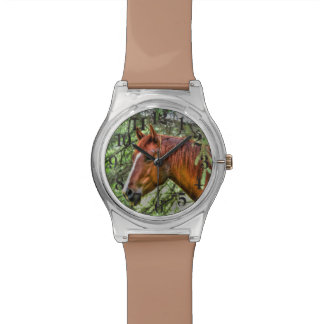 Red Dun Horse and Forest Animal-lover Photo Watch
